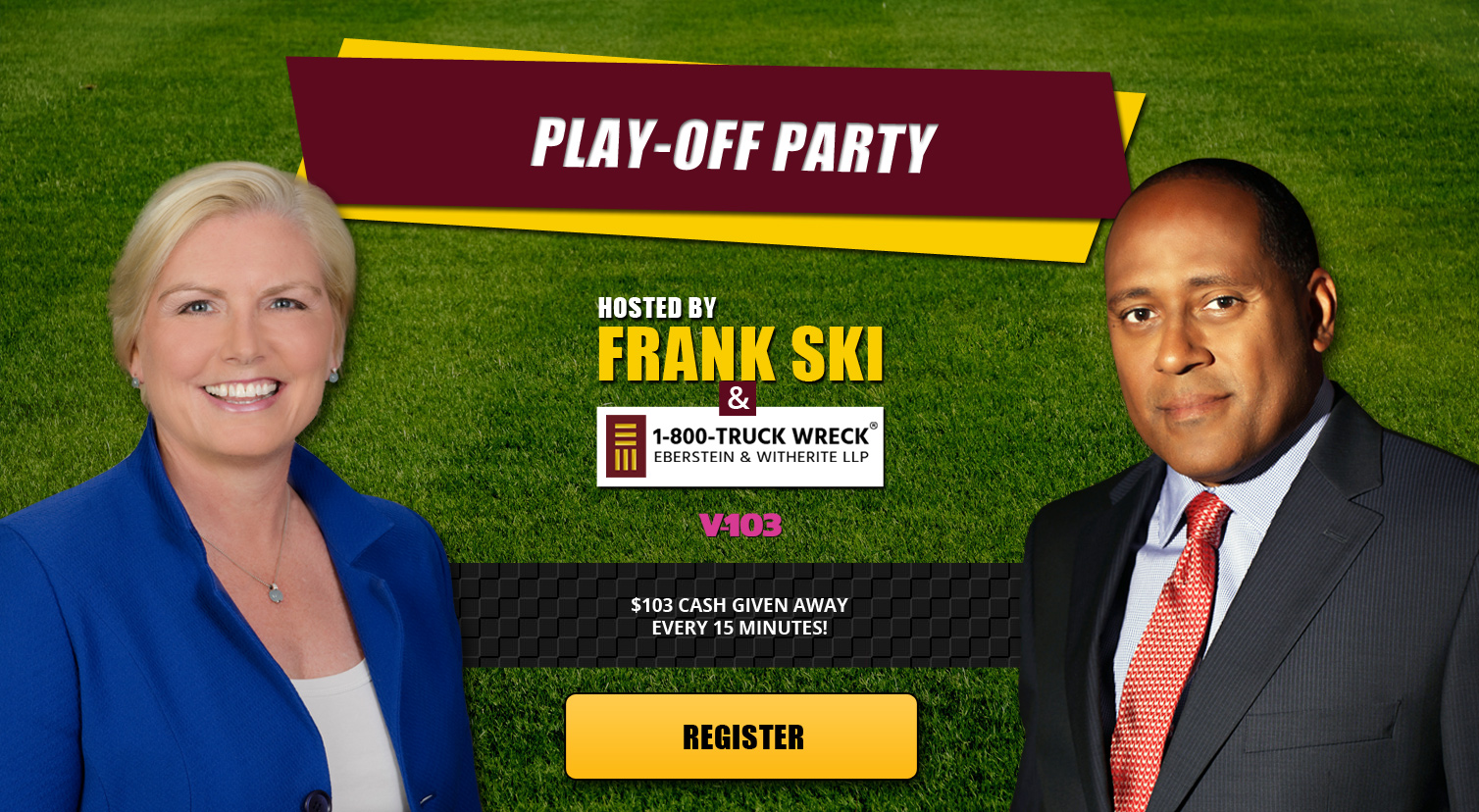 1-800-TRUCK-WRECK® of Eberstein & Witherite hosts the Falcons Play-Off Party alongside V-103